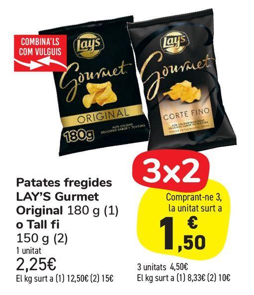 Oferta de Patatas fritas LAY'S Gourmet Original o Corte fino por 2,25€