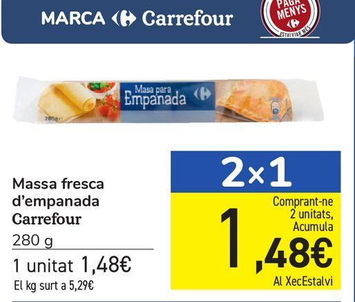 Oferta de Masa fresca de empanada Carrefour por 1,48€